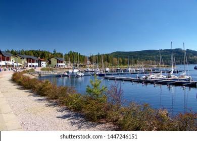 LIPNO NAD VLTAVOU, CZECH REPUBLIC - April 21, 2019: Marina with boats in Lipno nad Vltavou