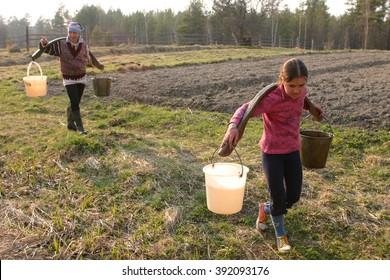 Lipovec village, Tver region, Russia - May 2, 2006: Russian Farmer girl Carrying Water Buckets