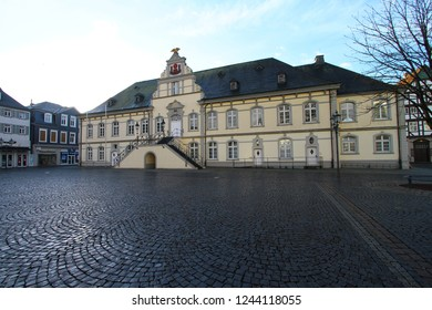 Lippstadt, Germany - February 16, 2014: Beautiful old Baroque townhall on the town market square. No one in sight.