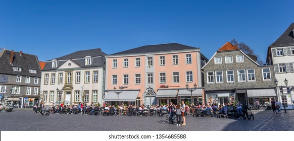 LIPPSTADT, GERMANY - MARCH 22, 2019: Panorama of restaurants on the market square in Lippstadt, Germany