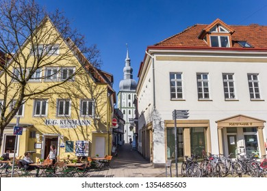 LIPPSTADT, GERMANY - MARCH 22, 2019: Houses and church tower in historic city Lippstadt, Germany