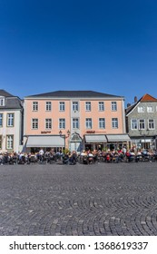 LIPPSTADT, GERMANY - MARCH 22, 2019: People sitting and drinking on the central square of Lippstadt, Germany