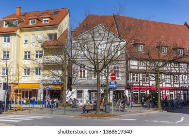 LIPPSTADT, GERMANY - MARCH 22, 2019: Shops and restaurant in the historic city Lippstadt, Germany