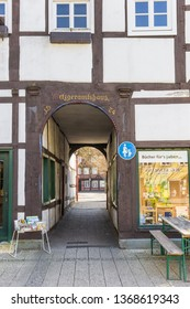LIPPSTADT, GERMANY - MARCH 22, 2019: Historic building Metzgeramtshaus in the center of Lippstadt, Germany