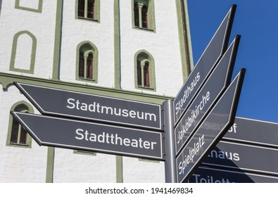 LIPPSTADT, GERMANY - MARCH 22, 2019: Tourist sign in front of the Marien church in Lippstadt, Germany