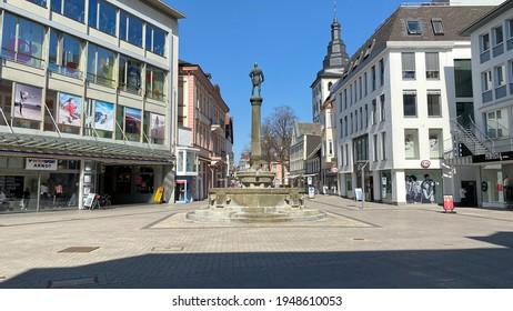 Lippstadt, NRW, Germany- 03.31.2021: Empty pedestrian zone in the city center of Lippstadt.