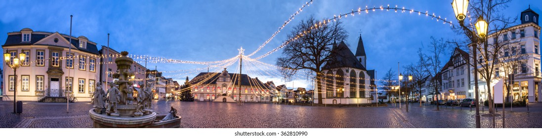 Lippstadt townhall place high definition panorama in the evening