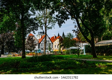 LIPPSTADT/GERMANY - July 2019: Historic city center in Lippstadt, Germany with an epic sky