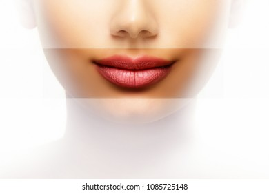 Lips beauty care concept of young woman with perfect mouth