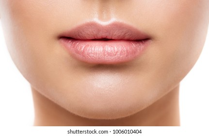 Lips Beauty Closeup, Woman Natural Face Make Up, Beautiful Full Lip and Pink Lipstick