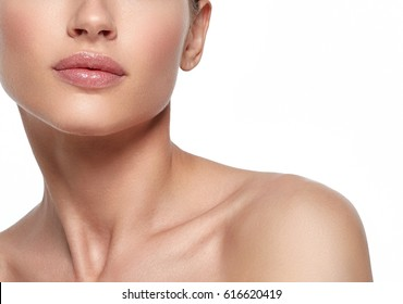 Lips nose neck woman closeup with hand chin. Studio shot. Isolated on white.