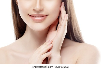 Lips and nose Woman happy young beautiful studio portrait with healthy skin