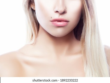 Lips, part of beauty face. Beauty Portrait of young woman with healthy skin. White background. Skincare health concept