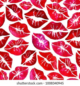 Lips pattern hand drawn by watercolor.  Fashion illustration lipstick kiss. Female seamless red lips