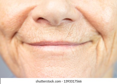 lips of a senior citizen woman.