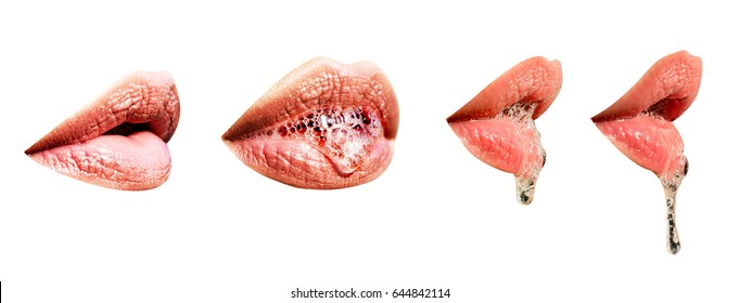 Lips set with saliva. Sexy lips isolated on white background. Saliva drips from the wet female erotic mouth. Mouth of woman or girl close up, part of the face. Gentle, sensual, seductive mouth