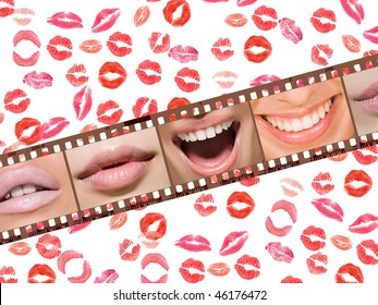 Lips and smiles at the women's negative film on a background of lipstick kisses