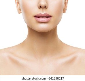 Lips, Woman Face Beauty, Mouth and Neck Skin Closeup, Women Skincare