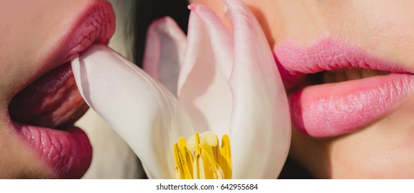lips or woman and girl with pink lipstick on kissing mouth and tulip flower, love and relations, lesbian and homosexual, beauty and fashion, kiss lips of woman and girl
