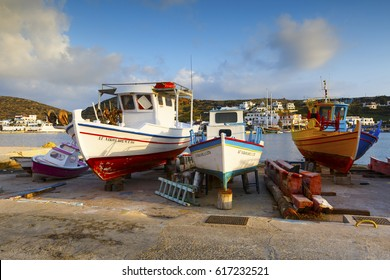 Lipsi, Greece - March 27, 2017: Harbour of Lipsi island in Dodecanese, Greece.