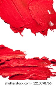 Lipstic red smudge white isolated background