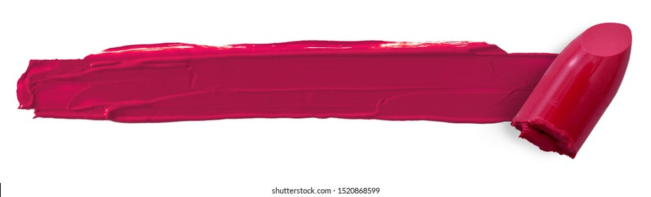 lipstick bullet smudged isolated on white with copy space cosmetic concept