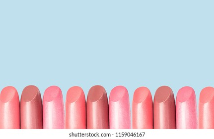 lipstick collection on blue