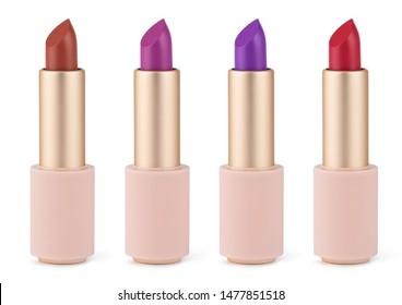 Lipstick color assortment isolated on white. Velvet matte satin airy lip stick new open.