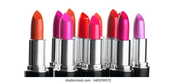 Lipstick. Fashion Colorful Lipsticks isolated on white background. Lipstick tints palette, Professional Makeup and Beauty. Beautiful Make-up concept. Lipgloss. Lipsticks closeup