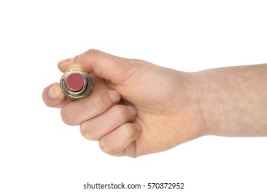 lipstick in hand