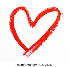 lipstick heart shape on white background