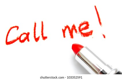 """Lipstick and inscription """"Call me"""". On a white background."""