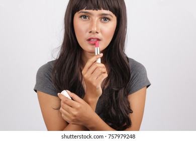 lipstick isolated asian woman