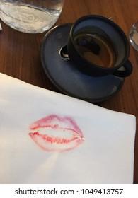 Lipstick kiss and coffee