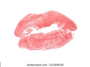 Lipstick kiss mark on white background