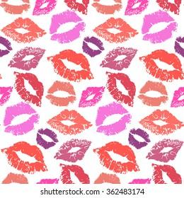 Lipstick kiss seamless background