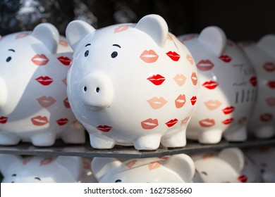 With lipstick kisses styled piggy bank on sale in the nursery Murrenhoff in Warendorf, Germany, 01-23-2020