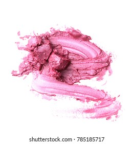 lipstick or lip gloss smear on white background. make up