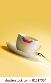Lipstick mark on cup