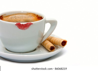 Lipstick mark on a cup of coffee