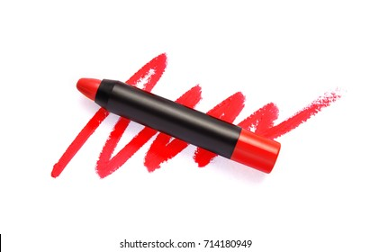 Lipstick pencil and stroke isolated on white