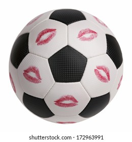 Lipstick prints on the surface of a soccer ball
