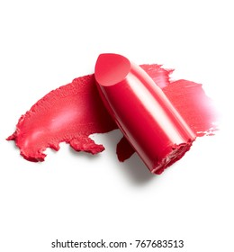 Lipstick and lipstick smear isolated on white background