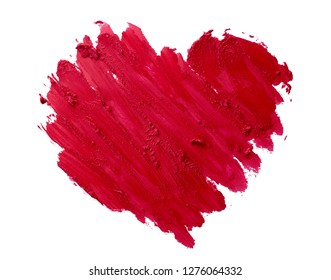 lipstick smudge or red color paint heart shape on white background love concept