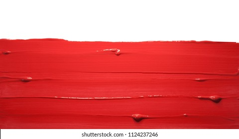 Lipstick smudged isolated white background
