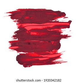 lipstick swatch smudged texture isolated on white with copy space for background cosmetic concept