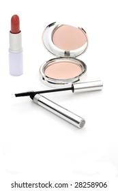 lipstick,powder and mascara