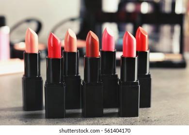Lipsticks in different shades, closeup