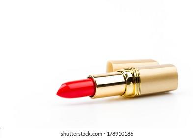 lipsticks isolated white background