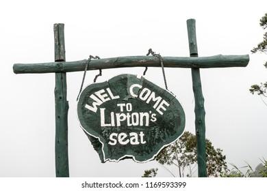 LIPTON'S SEAT, SRI LANKA - JULY 15, 2016: Information board at Lipton's Seat viewpoint.
